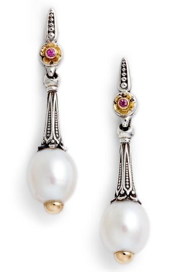 Women's Konstantino Pearl & Pink Sapphire Drop Earrings
