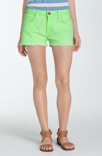 Current/Elliott 'The Cutoff' Neon Denim Shorts Lime Green 24