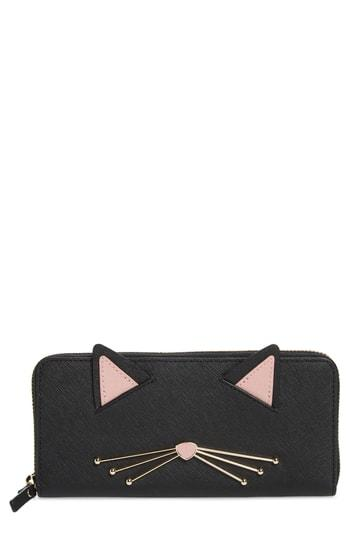 Women's Kate Spade New York Cats Meow Lindsey Leather Wallet - Black
