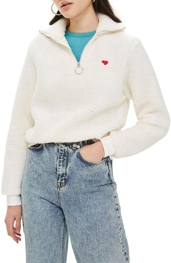 Petite Women's Topshop Borg Heart Quarter Zip Pullover P Us (fits Like 00p) - Ivory