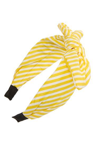 Tasha Knotted Stripe Bow Headband, Size - Yellow
