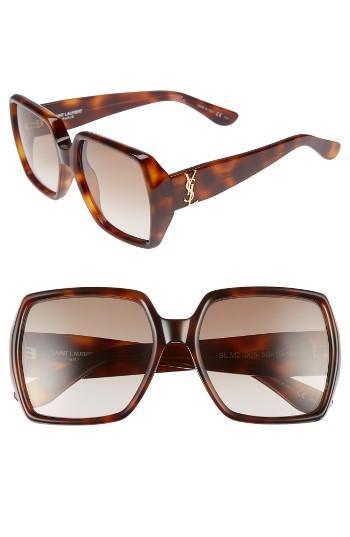 Women's Saint Laurent 58mm Square Sunglasses - Havana