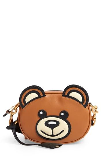 Moschino Crystal Teddy Leather Crossbody Bag -