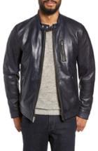 Men's Lamarque Leather Racer Jacket, Size - Blue