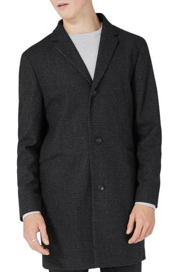 Men's Topman Textured Overcoat - Grey