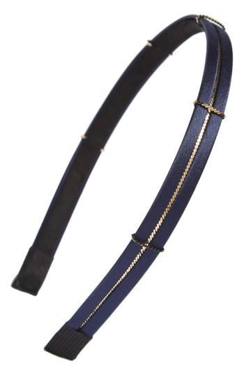 Cara Skinny Metal Chain Headband, Size - Blue