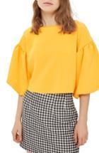 Women's Topshop Puff Sleeve Top Us (fits Like 0) - Orange