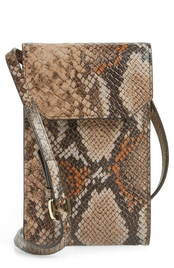 Nordstrom Leather Phone Crossbody Bag - Beige