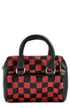Topshop Checkerboard Mini Bowler Bag - Red