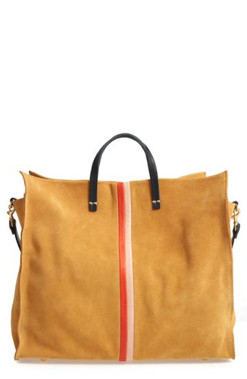 Clare V. Simple Stripe Suede Tote - Yellow
