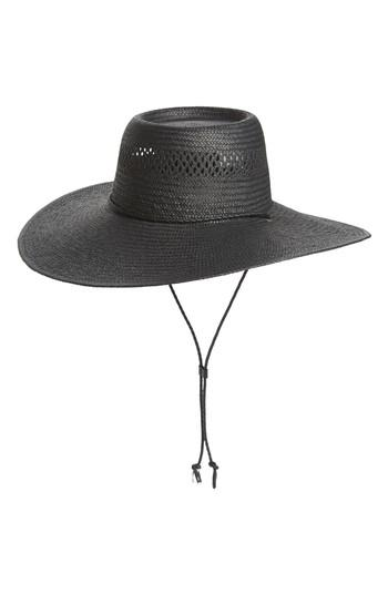 Women's Madewell Wide Brim Straw Hat - Black