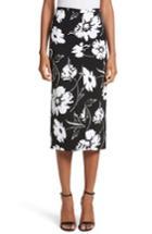 Women's Michael Kors Floral Print Pencil Skirt - Black