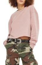 Women's Topshop Crop Sweatshirt Us (fits Like 0) - Beige