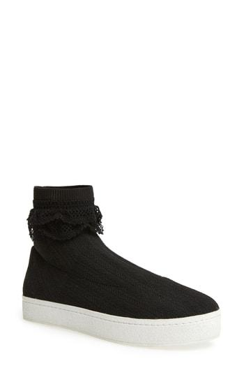 Women's Opening Ceremony Bobby Sock Knit Sneaker Eu - Black