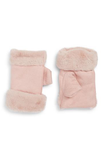 Women's La Double 7 Faux Fur Cuff Fingerless Gloves, Size - Pink