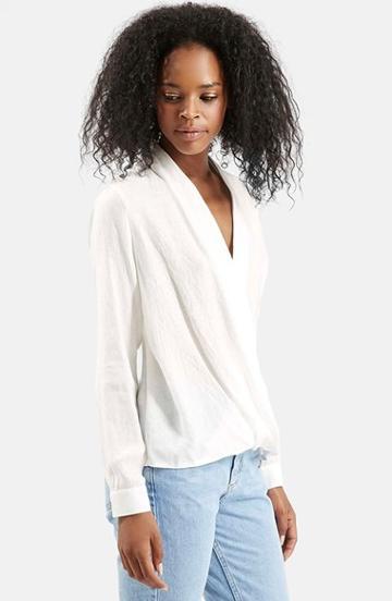 Women's Topshop Drape Front Blouse, Size 6 (2-4 Us) - White