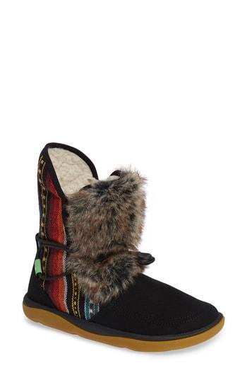Women's Sanuk Tripper Flurry Faux Fur Boot M - Black