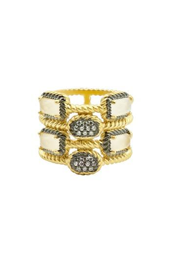 Women's Freida Rothman Gilded Cable Stone & Pave Cage Ring
