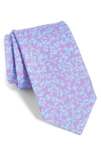 Men's The Tie Bar Webb Floral Linen Tie, Size - Purple