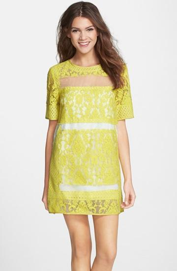 Women's Elliatt 'eccentric' Lace Panel Shift Dress, Size X-small - Yellow