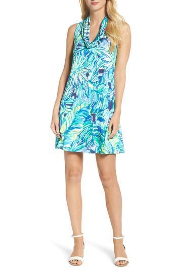 Women's Lilly Pulitzer Lyza Silk Shift Dress, Size - Blue/green