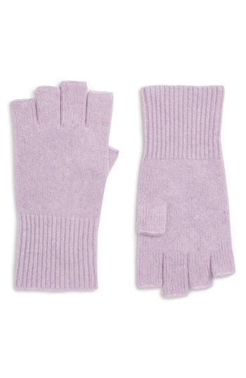 Women's Halogen Cashmere Fingerless Gloves, Size - Purple