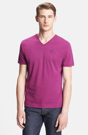 Versace 'medusa' V-neck T-shirt Dark Pink