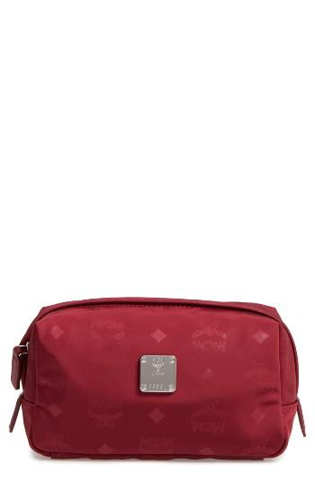 Mcm Dieter Water Repellent Nylon Pouch, Size - Ruby Tan