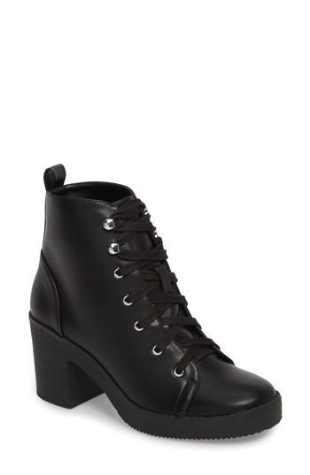 Women's Steve Madden Abby Lace-up Bootie .5 M - Black