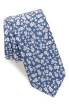 Men's 1901 Floral Print Cotton Tie, Size - Blue
