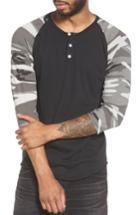 Men's Alternative Three Quarter Sleeve Raglan Henley - Black