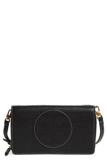 Women's Tory Burch Perforated Leather Wallet Crossbody Bag - Black