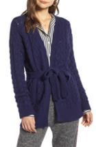 Women's Treasure & Bond Cable Knit Belted Wrap Cardigan, Size - Blue