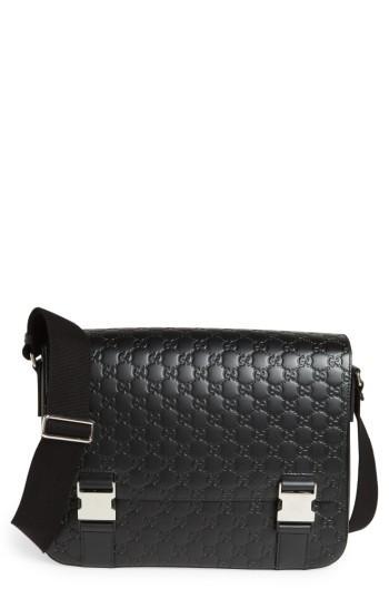 Men's Gucci Gg Leather Messenger Bag -