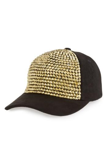 Women's Amici Accessories Crystal Studded Ball Cap - Black