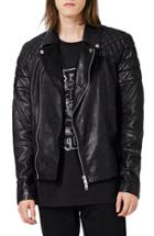 Men's Topman Quilted Leather Biker Jacket