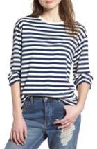 Women's Topshop Boutique Stripe Shirt Us (fits Like 0-2) - Blue