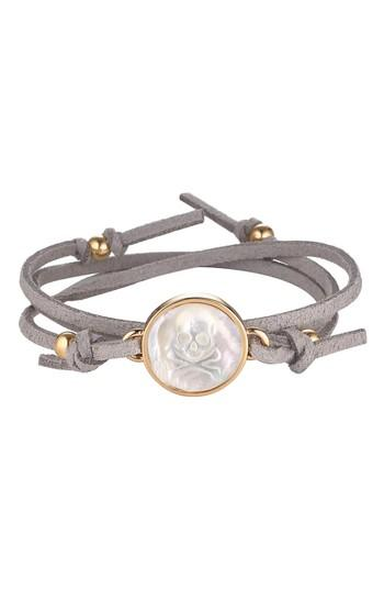 Women's Asha Skull & Bones Suede Wrap Bracelet