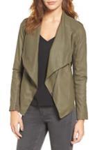 Women's Bb Dakota 'kenrick' Drape Neck Leather Jacket - Green
