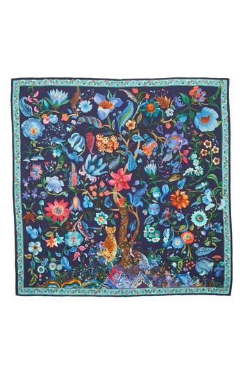 Women's Salvatore Ferragamo Tree Of Life Silk Foulard Scarf, Size - Blue