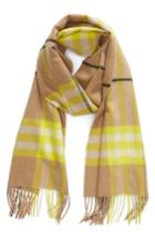 Women's Burberry Fluro Giant Check Cashmere Scarf, Size - Yellow