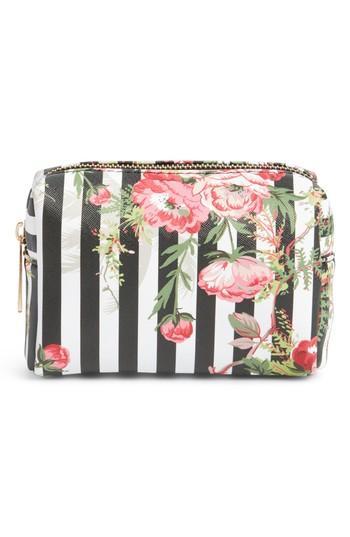 Yoki Bags Stripe Floral Cosmetics Bag, Size - Black
