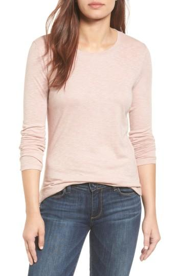 Petite Women's Caslon Long Sleeve Crewneck Tee, Size P - Pink