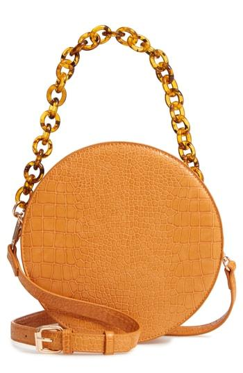 Street Level Croc Embossed Faux Leather Circle Bag -