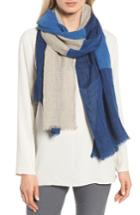 Women's Eileen Fisher Denim Colorblock Linen Scarf