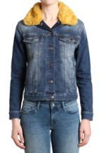 Women's Mavi Jeans Katy Faux Fur Collar Denim Jacket - Blue