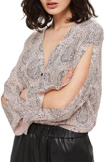 Petite Women's Topshop Hidden Leopard Shirt P Us (fits Like 0p) - Beige