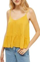 Women's Topshop Peplum Camisole Us (fits Like 2-4) - Yellow