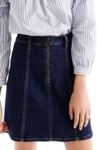 Women's J.crew Zip Front Denim Skirt - Blue