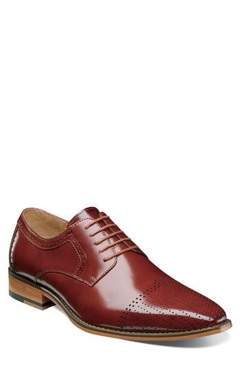 Men's Stacy Adams Sanborn Perforated Cap Toe Derby .5 M - Brown